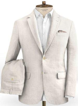 Белый свадебный костюм из шелка, шерсти и льна
