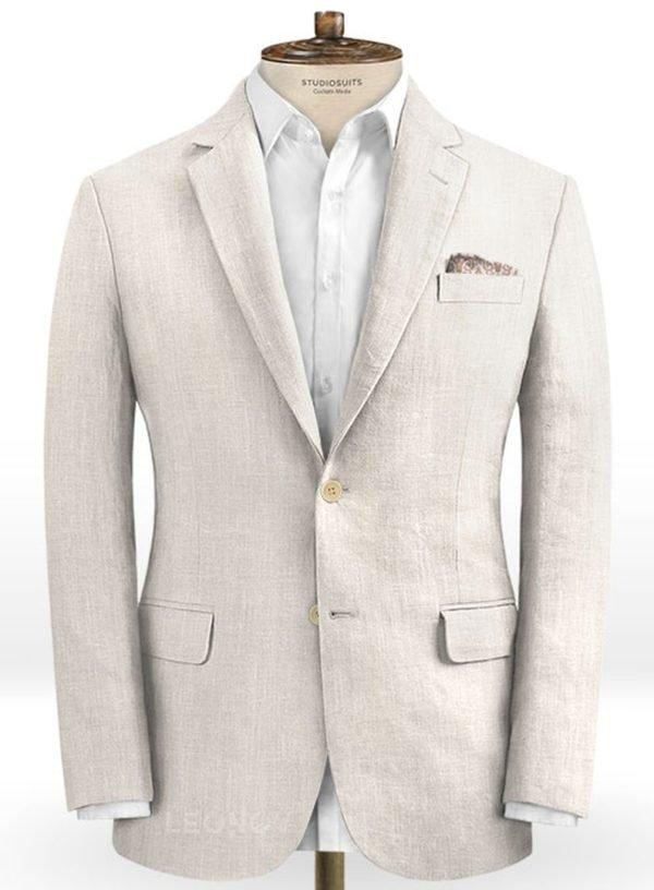Белый свадебный пиджак из шелка, шерсти и льна – Solbiati