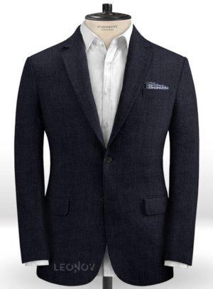 Темно-синий офисный пиджак из шелка, шерсти и льна – Solbiati