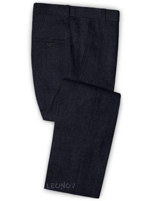 Темно-синие офисные брюки из шелка, шерсти и льна – Solbiati