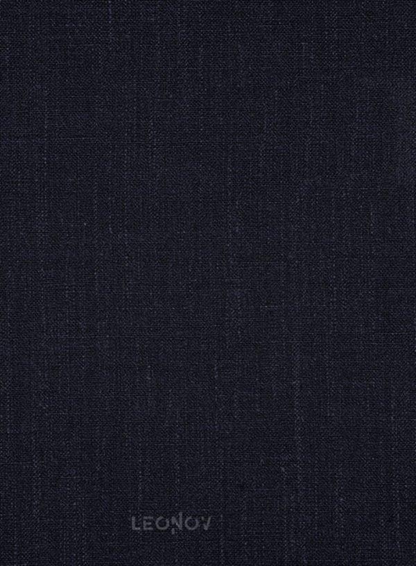 Темно-синий офисный костюм из шелка, шерсти и льна