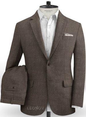 Коричневый офисный костюм из шелка, шерсти и льна