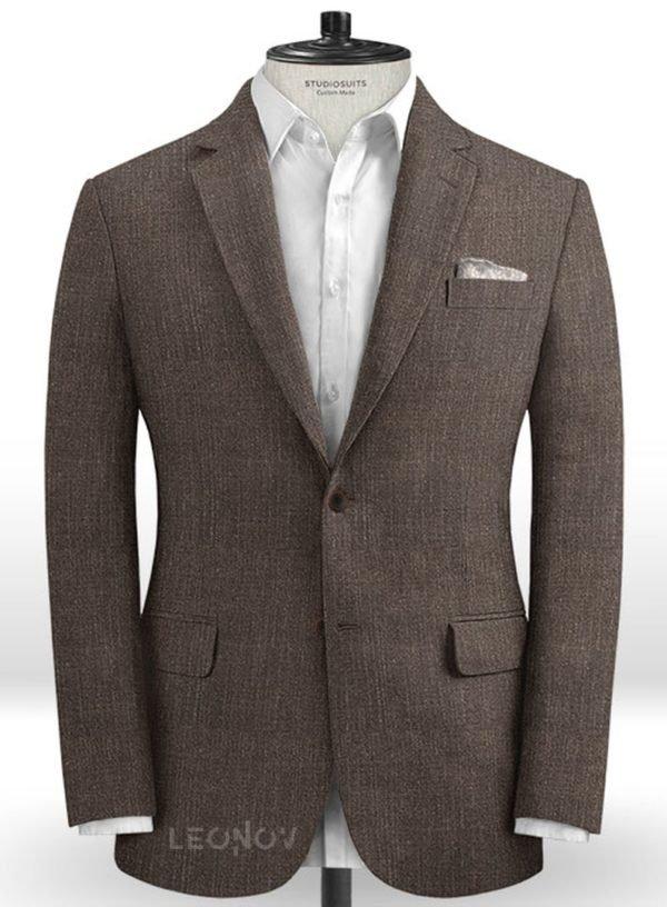 Коричневый офисный пиджак из шелка, шерсти и льна – Solbiati