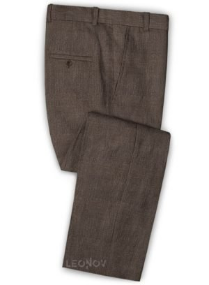Коричневые офисные брюки из шелка, шерсти и льна – Solbiati