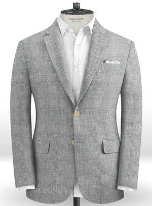 Серый пиджак в клетку из шерсти, льна и шелка – Solbiati