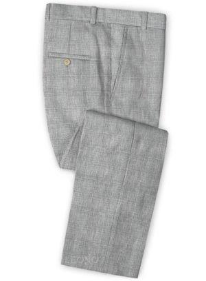 Серые брюки в клетку из шерсти, льна и шелка – Solbiati