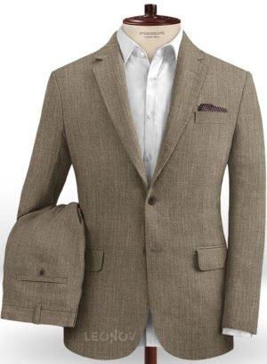 Светло-коричневый офисный костюм из шелка, шерсти и льна