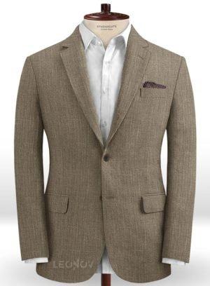 Светло-коричневый офисный пиджак из шелка, шерсти и льна – Solbiati
