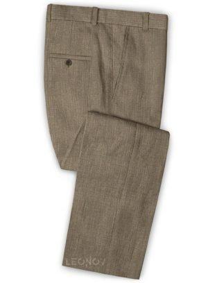 Светло-коричневые офисные брюки из шелка, шерсти и льна – Solbiati