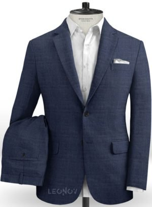 Темно-синий костюм из шерсти, льна и шелка