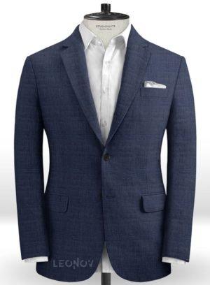 Темно-синий пиджак из шерсти, льна и шелка – Solbiati