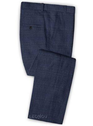 Темно-синие брюки из шерсти, льна и шелка – Solbiati
