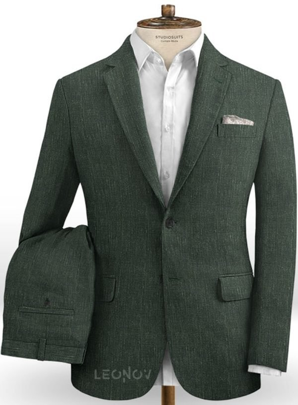 Классический зеленый костюм из шелка, шерсти и льна