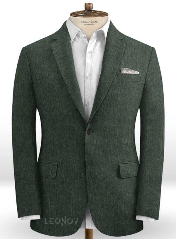 Классический зеленый пиджак из шелка, шерсти и льна – Solbiati