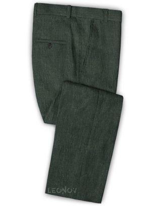 Классические зеленые брюки из шелка, шерсти и льна – Solbiati