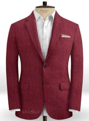 Ярко-бордовый пиджак из шелка, шерсти и льна – Solbiati
