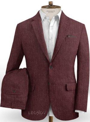Темно-бордовый костюм из шелка, шерсти и льна