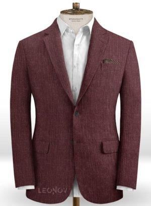 Темно-бордовый пиджак из шелка, шерсти и льна – Solbiati
