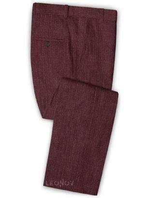Темно-бордовые брюки из шелка, шерсти и льна – Solbiati