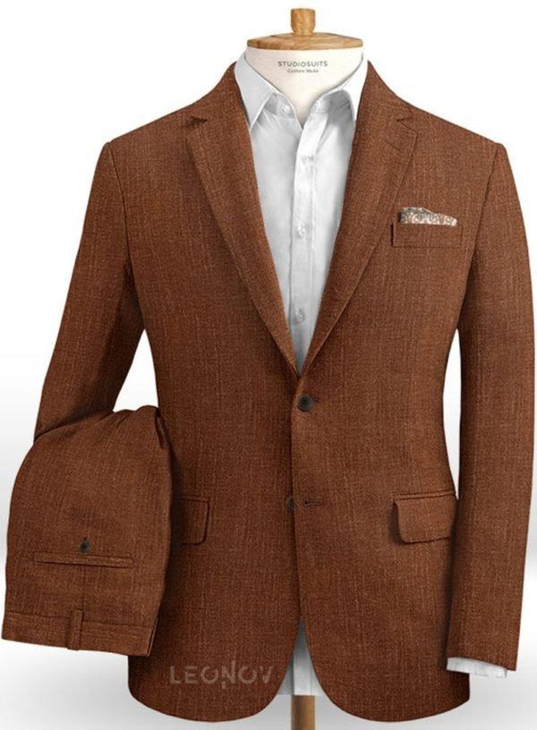 Коричневый мужской костюм из шелка, шерсти и льна