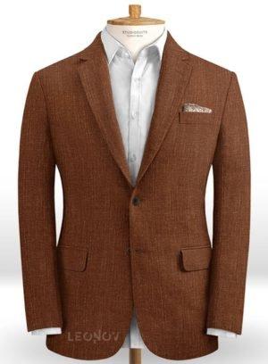 Коричневый мужской пиджак из шелка, шерсти и льна – Solbiati