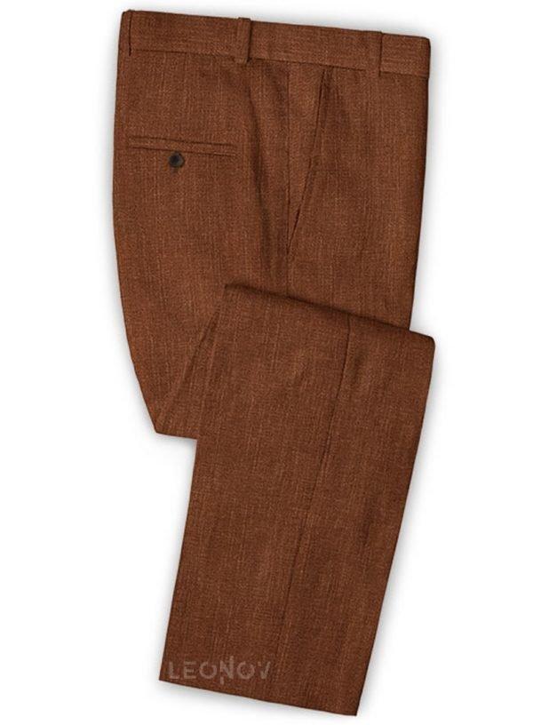 Коричневые мужской брюки из шелка, шерсти и льна – Solbiati