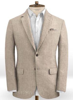 Бледно бежевый пиджак из шелка, шерсти и льна – Solbiati