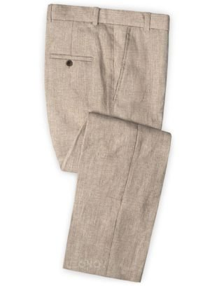 Бледно бежевые брюки из шелка, шерсти и льна – Solbiati