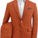 Оранжевый мужской костюм из шелка, шерсти и льна