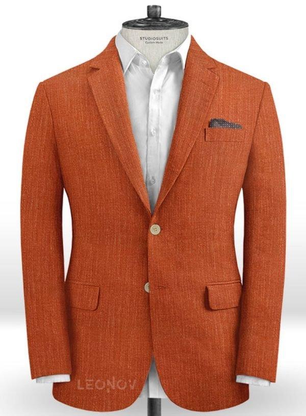 Оранжевый мужской пиджак из шелка, шерсти и льна – Solbiati