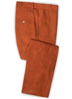 Оранжевые мужские брюки из шелка, шерсти и льна – Solbiati