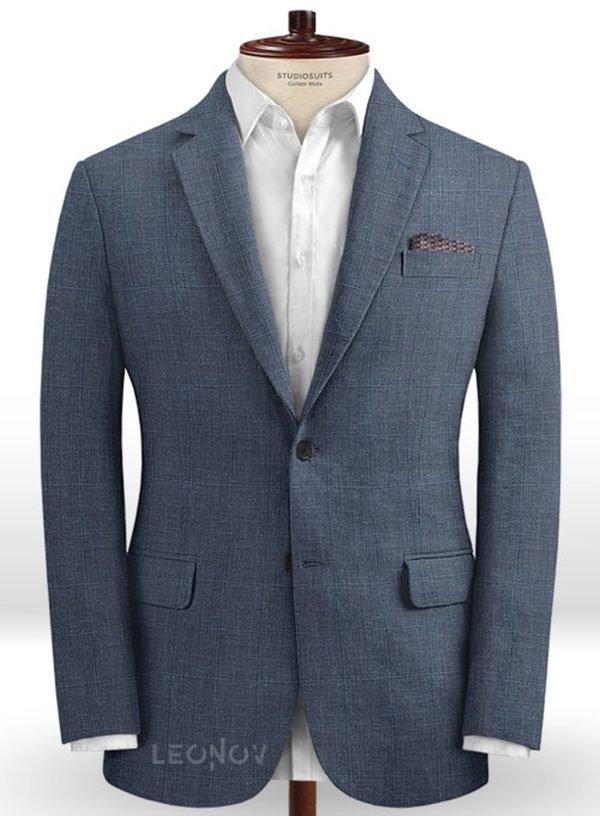 Повседневный синий пиджак из шерсти и шелка – Solbiati