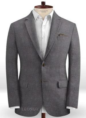 Серый деловой пиджак из шерсти, льна и шелка – Solbiati