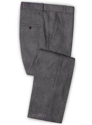 Серые деловые брюки из шерсти, льна и шелка – Solbiati