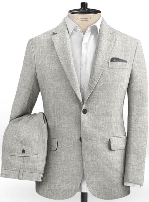 Светло-серый классический костюм из шелка, шерсти и льна
