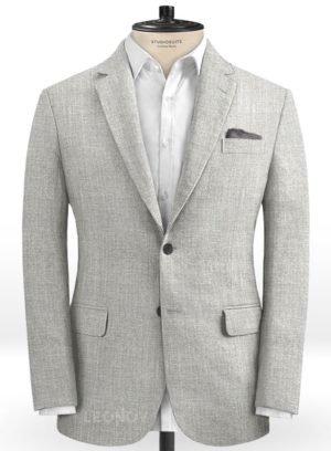 Светло-серый классический пиджак из шелка, шерсти и льна – Solbiati