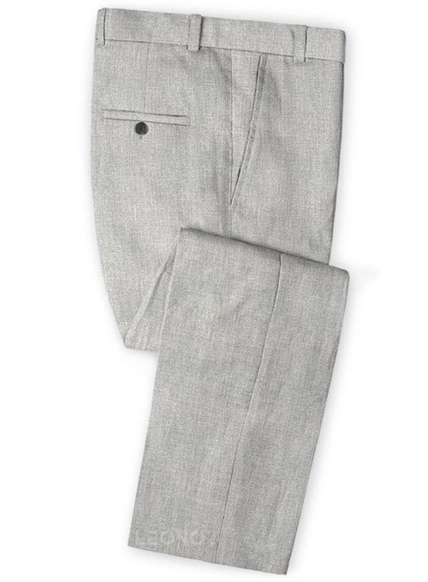 Светло-серые классические брюки из шелка, шерсти и льна – Solbiati