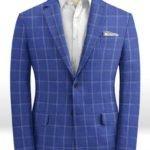 Ярко-синий пиджак в клетку из шерсти, льна и шелка – Solbiati
