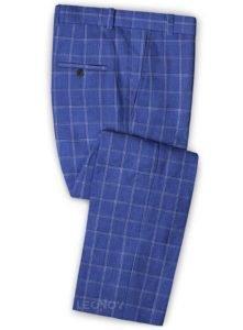 Ярко-синие брюки в клетку из шерсти, льна и шелка – Solbiati