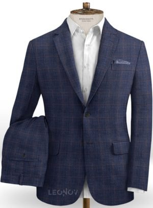 Деловой костюм глубокого синего цвета из шелка, шерсти и льна