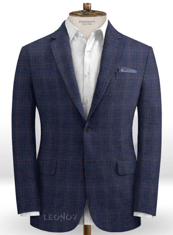 Деловой пиджак глубокого синего цвета из шелка, шерсти и льна – Solbiati