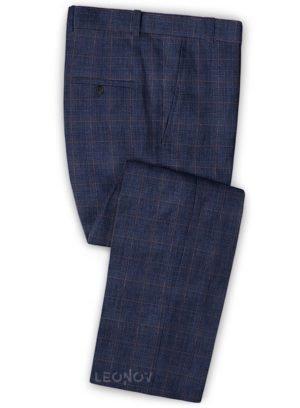 Деловые брюки глубокого синего цвета из шелка, шерсти и льна – Solbiati