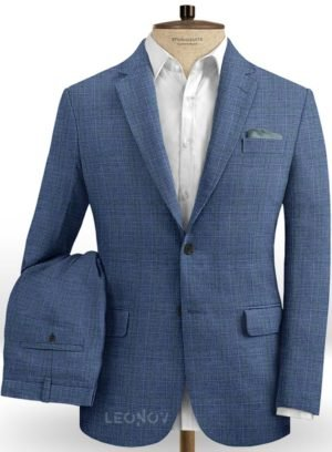 Деловой костюм стального синего цвета из шелка, шерсти и льна