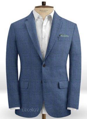 Деловой пиджак стального синего цвета из шелка, шерсти и льна – Solbiati