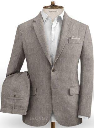 Современный серый костюм из шелка, шерсти и льна