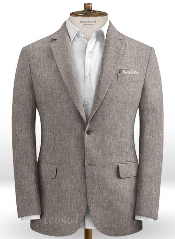 Современный серый пиджак из шелка, шерсти и льна – Solbiati