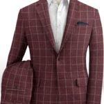 Бордовый костюм в клетку из шерсти, льна и шелка