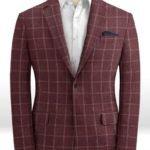 Бордовый пиджак в клетку из шерсти, льна и шелка – Solbiati