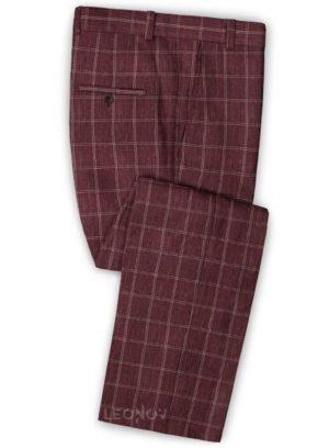 Бордовые брюки в клетку из шерсти, льна и шелка – Solbiati