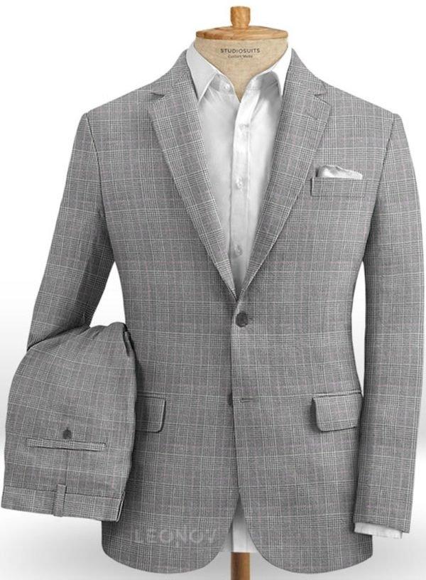 Серый костюм в светлую клетку из шерсти, льна и шелка